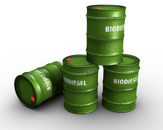 biodiesel in green barrels