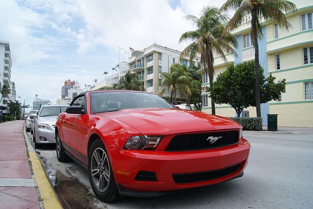 Red Ford Mustang on Miami Beach